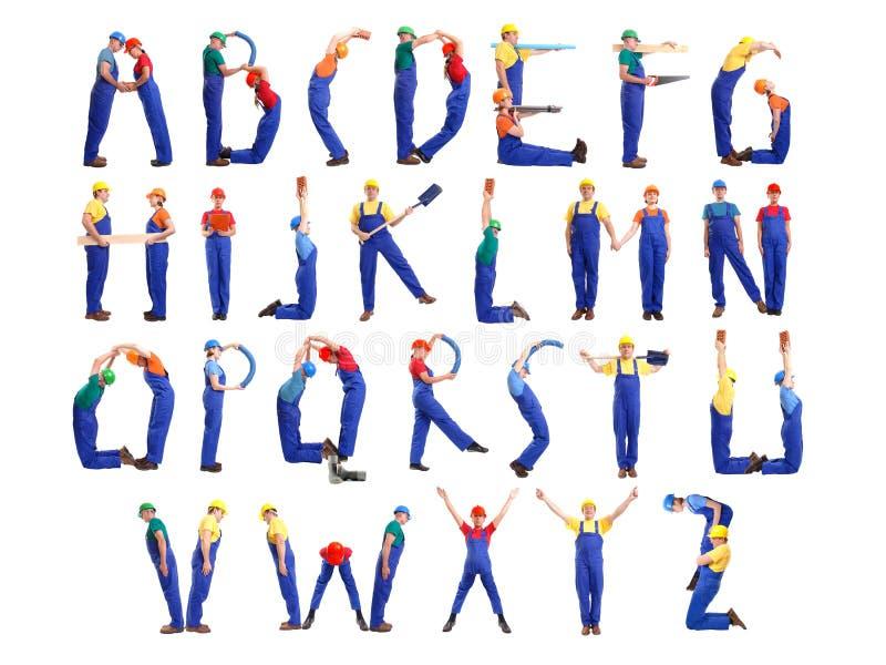 Alphabet d'homme de construction image stock