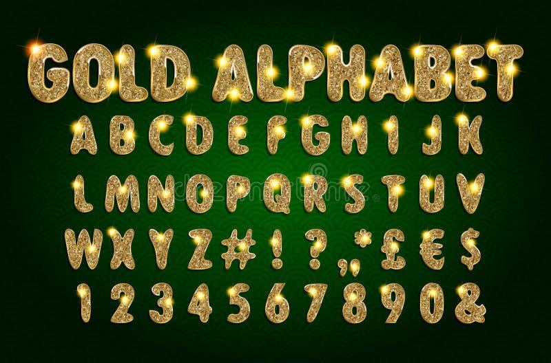 Alphabet d'or sur un fond foncé illustration libre de droits