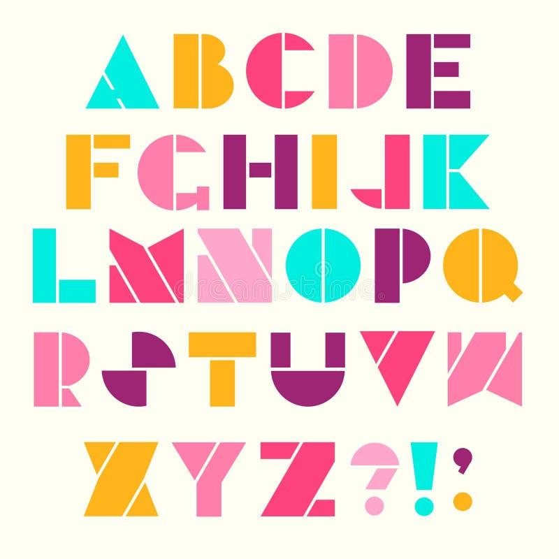 Alphabet dans le rétro style illustration de vecteur