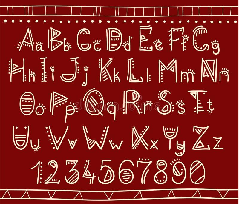 Alphabet dans le style ethnique africain illustration libre de droits
