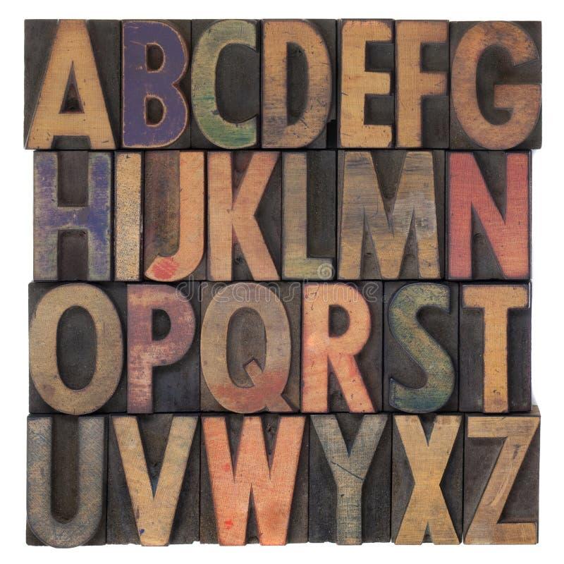 Alphabet dans le type en bois d'impression typographique de cru photographie stock libre de droits