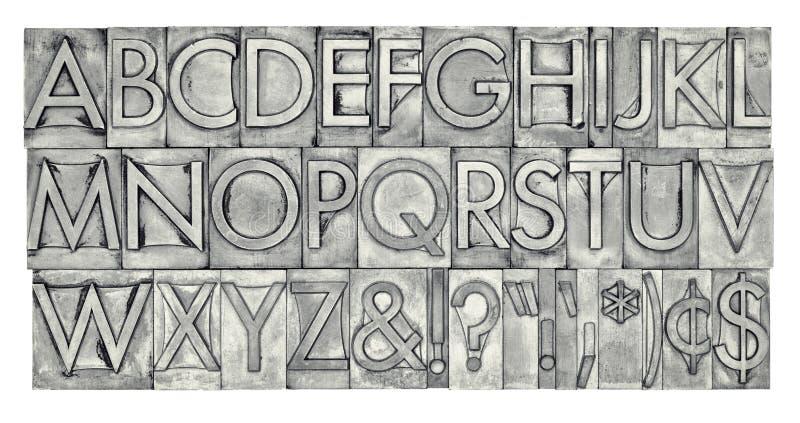 Alphabet dans le type en métal photos stock