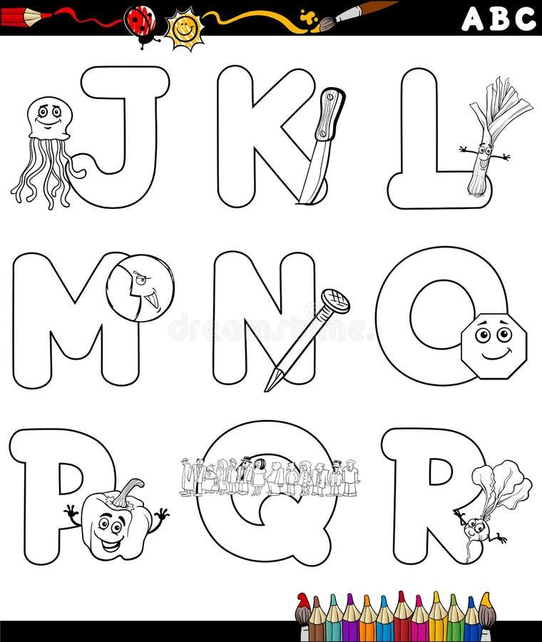 Alphabet de bande dessinée pour livre de coloriage illustration libre de droits