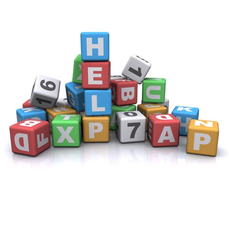 Alphabet de bloc de gosses. aide. illustration libre de droits