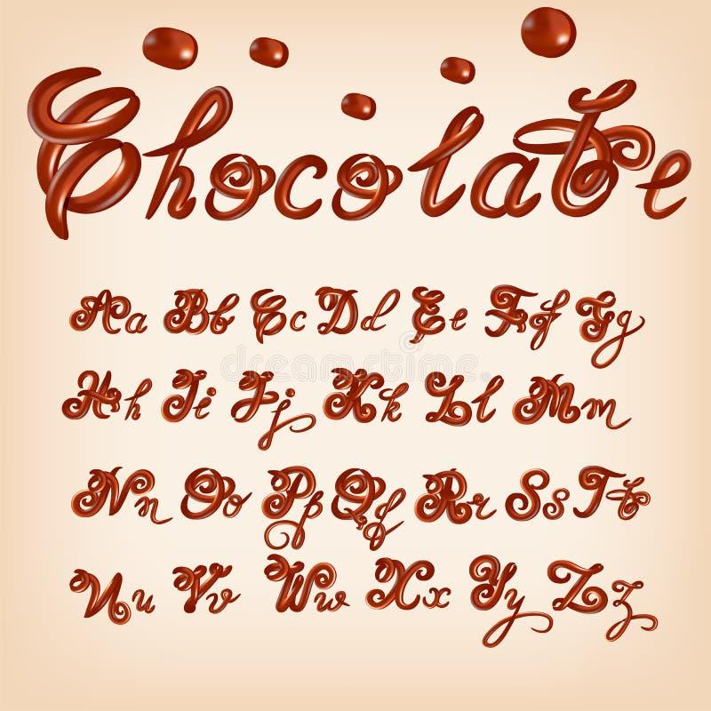 Alphabet de chocolat fondu par vecteur Lettres brillantes et vitrées, liquide Style de police Conception brillante de manuscrit d illustration stock