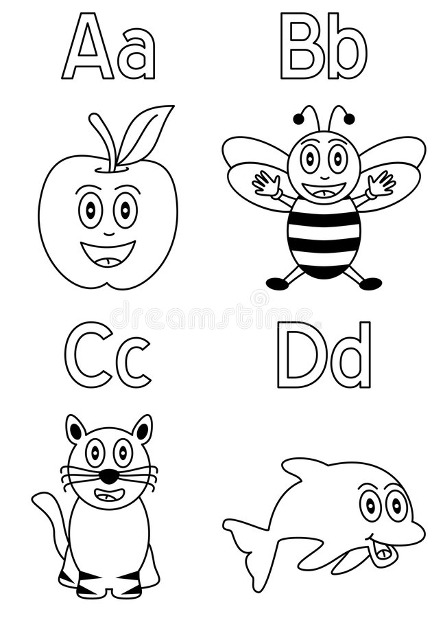 Alphabet de coloration pour les gosses [1] illustration de vecteur