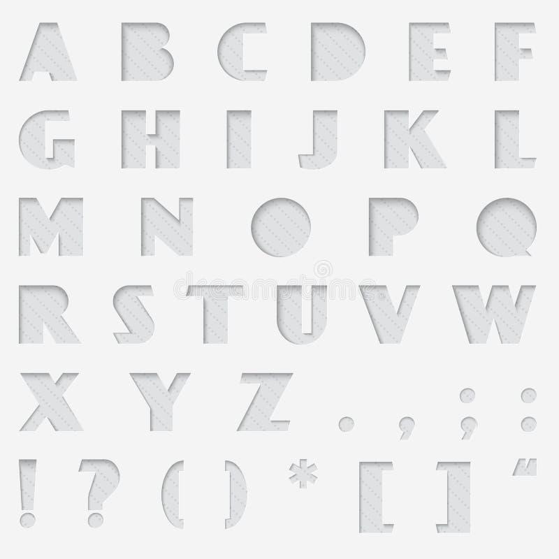 Alphabet de coupe de papier de vecteur Cutted de l'ensemble de papier de police illustration de vecteur