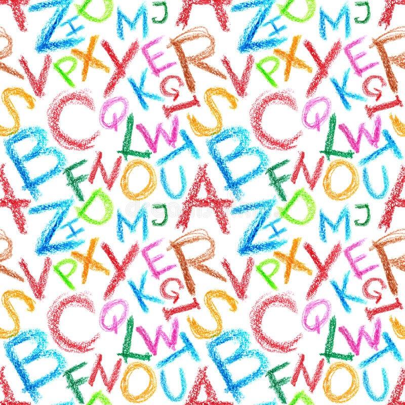 Alphabet de crayon sans joint illustration stock