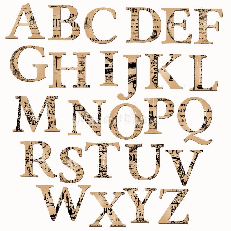 Alphabet de cru basé sur le vieux journal illustration stock