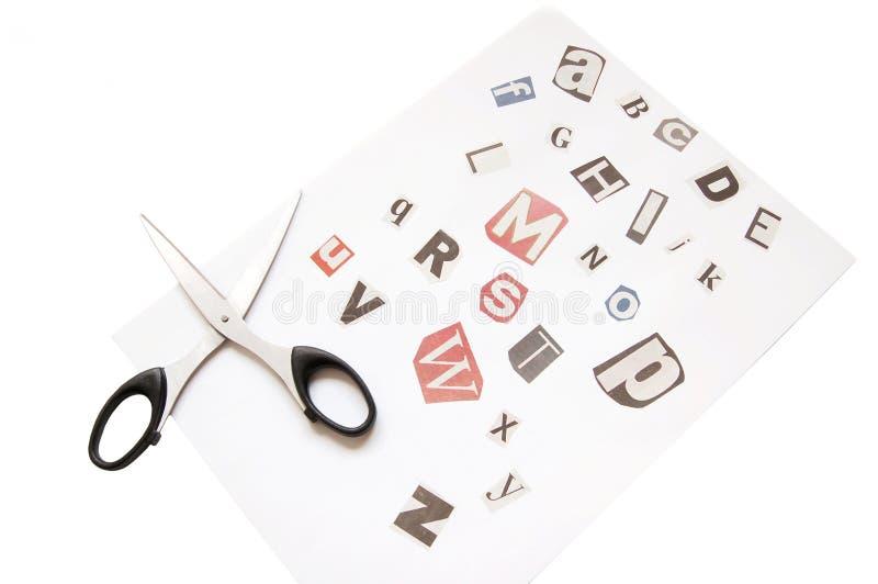 Alphabet de découpage de journal images libres de droits