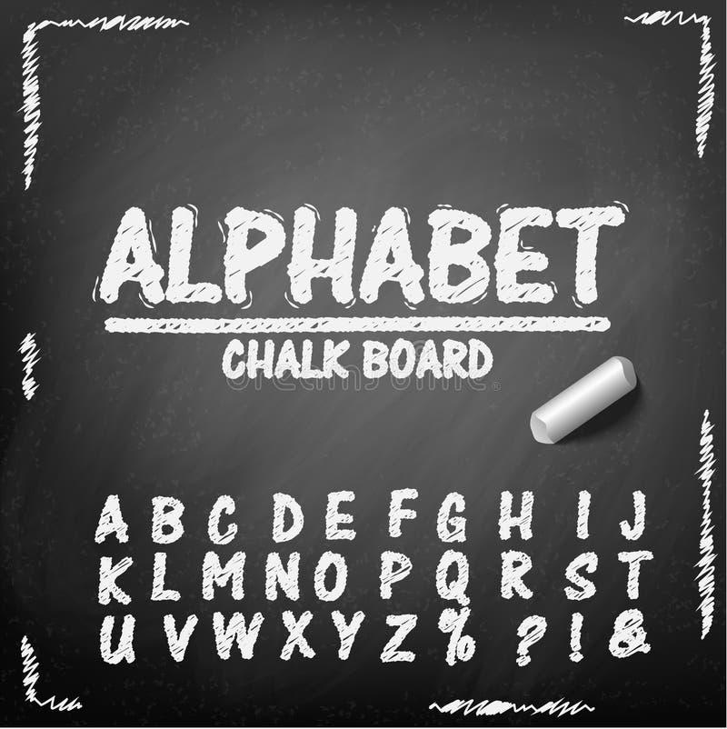 Alphabet de dessin de main de panneau de craie illustration stock
