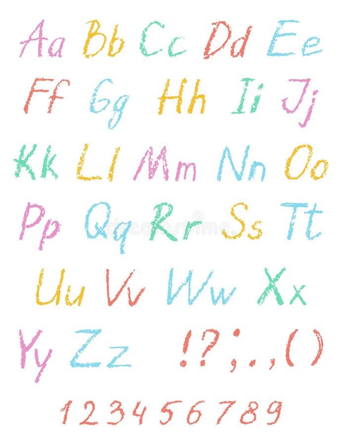 Alphabet de dessin du ` s d'enfant de crayon de cire Police en pastel de craie Lettres de dessin d'ABC illustration libre de droits