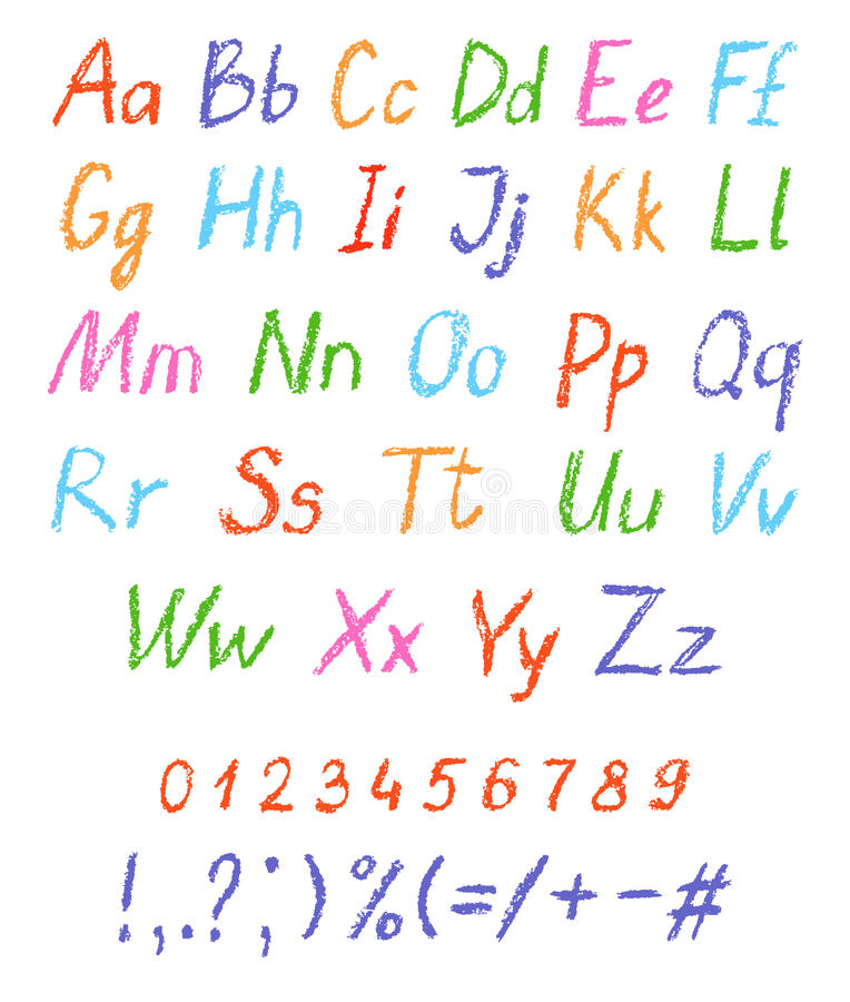 Alphabet de dessin du ` s d'enfant de crayon Police en pastel de craie Lettres de dessin d'ABC illustration stock