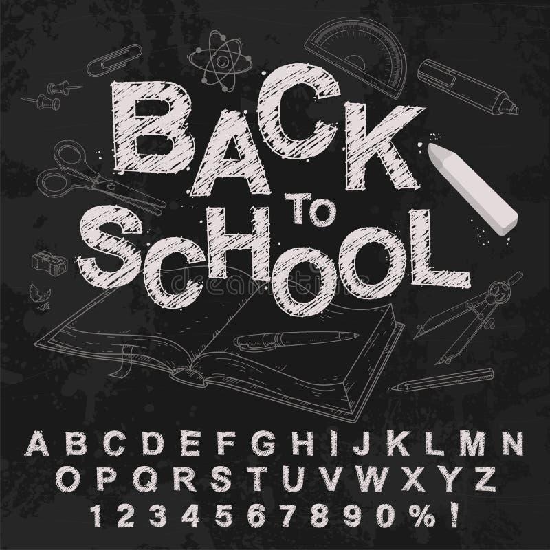 Alphabet de dessin de main de craie, illustration de vecteur Marqué à la craie de nouveau à l'école illustration libre de droits