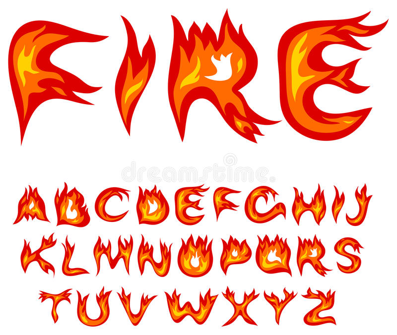 Alphabet de flamme illustration stock