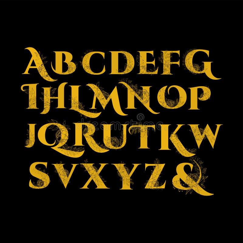 Alphabet de fleur de vintage illustration libre de droits