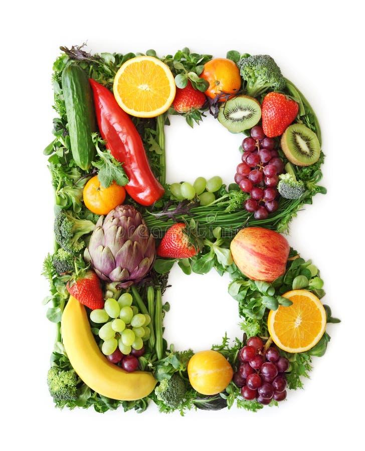 Alphabet de fruits et légumes photo stock