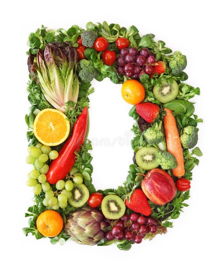 Alphabet de fruits et légumes photos stock