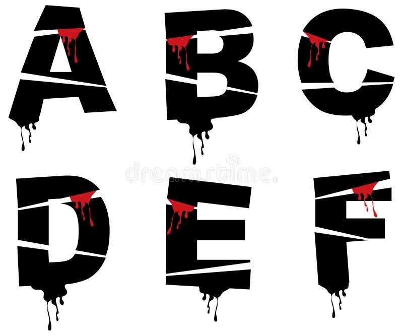 Alphabet de grunge de Veille de la toussaint illustration de vecteur