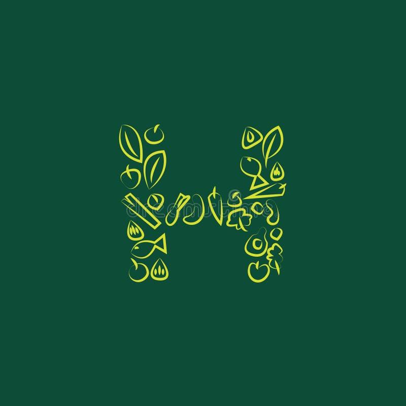 Alphabet de H illustration de vecteur