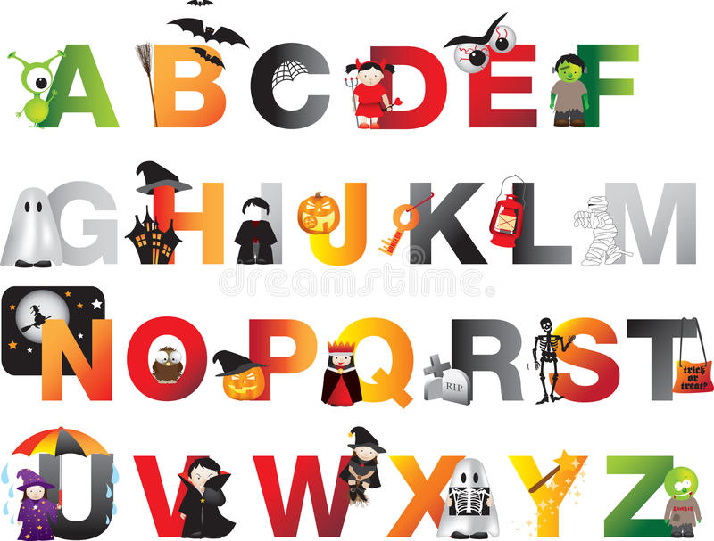 Alphabet de Halloween illustration de vecteur