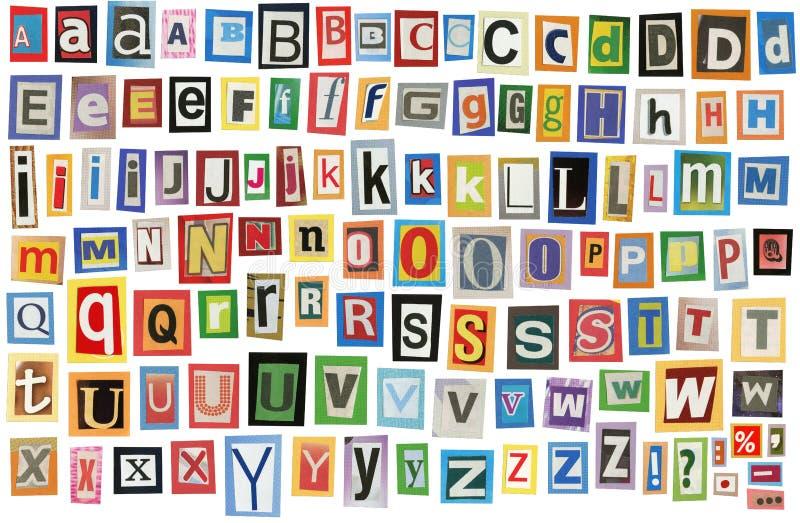 Alphabet de journal photographie stock libre de droits