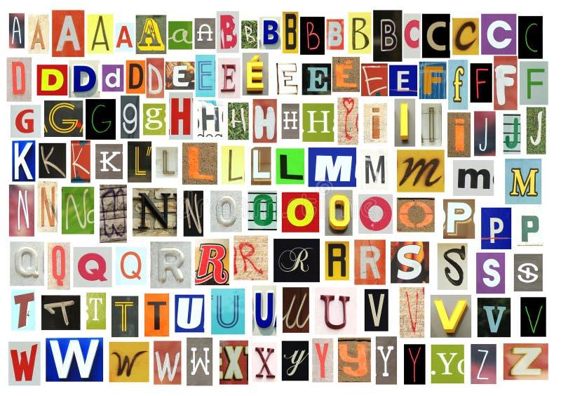 Alphabet de journal coupé sur le backgroud blanc photos libres de droits