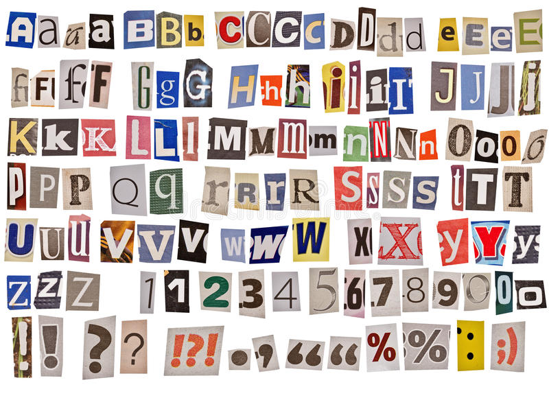 Alphabet de journal d'isolement photographie stock