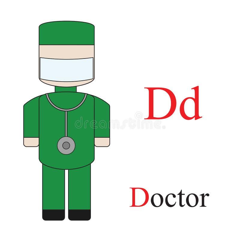 Alphabet de la lettre D des professions illustration de vecteur