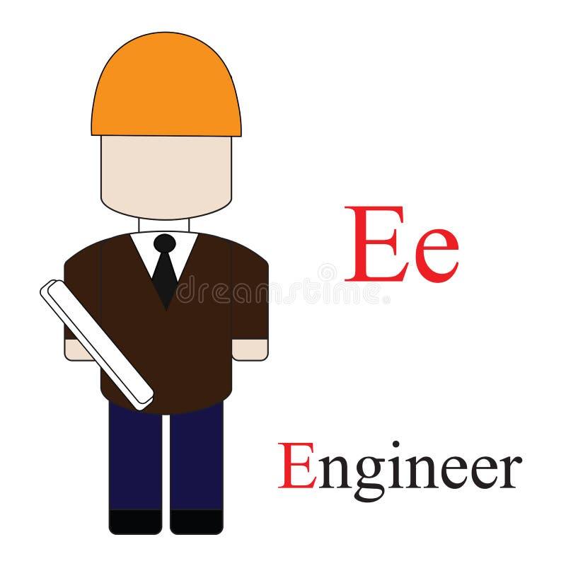 Alphabet de la lettre E des professions illustration libre de droits