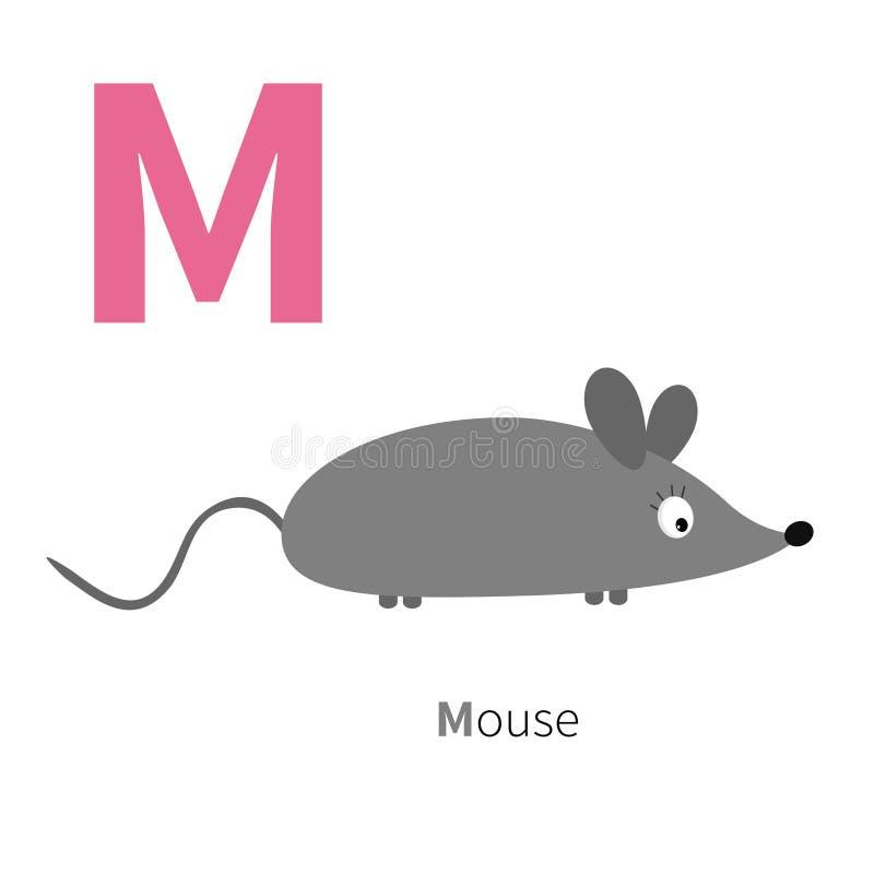 Alphabet de la lettre M Mouse Zoo ABC anglais avec des cartes d'éducation d'animaux pour la conception plate de fond blanc d'enfa illustration libre de droits