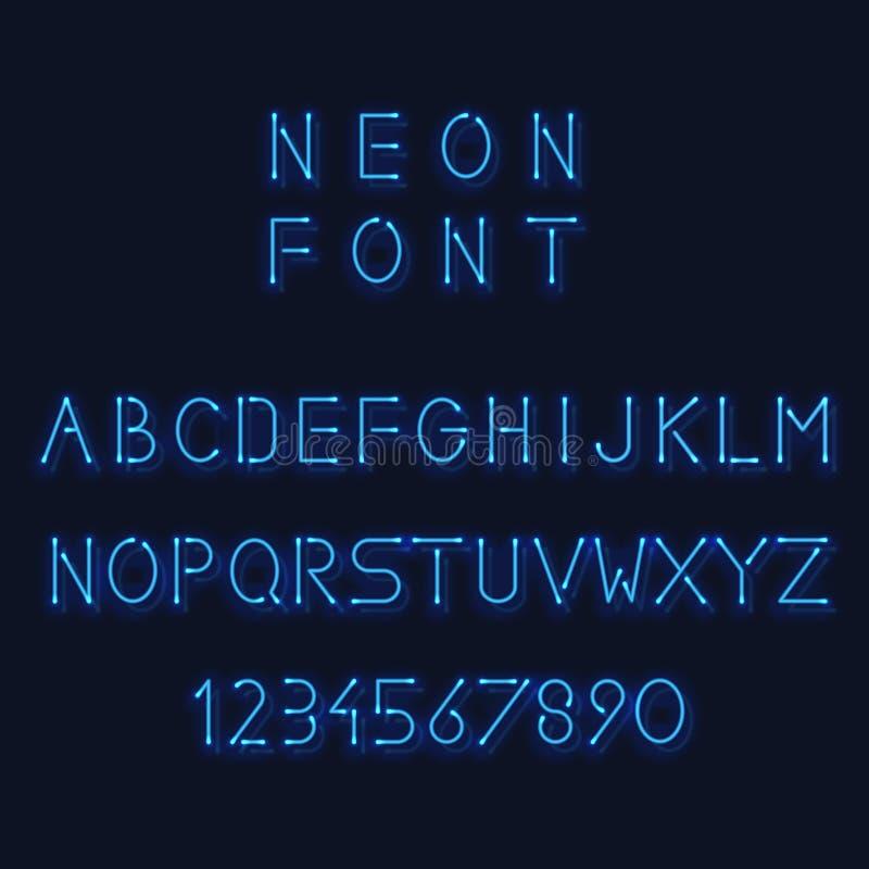 Alphabet de lampe au néon Lettres et nombre de vecteur illustration de vecteur