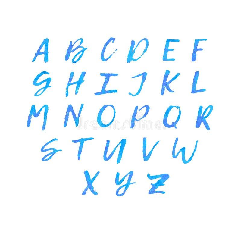 Alphabet de lettrage d'aquarelle image stock