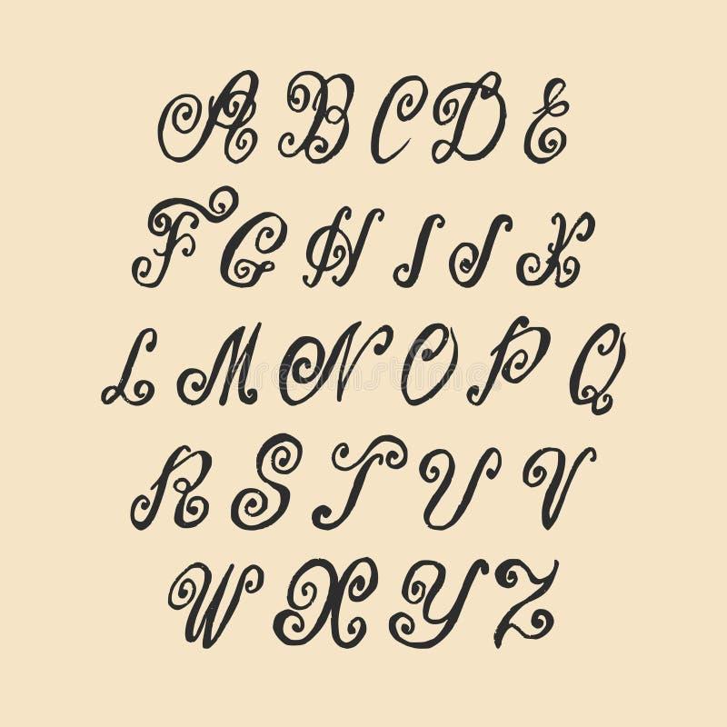 Alphabet de lettrage de remous écrit par main de vecteur vieil Lettres de calligraphie de vintage illustration libre de droits