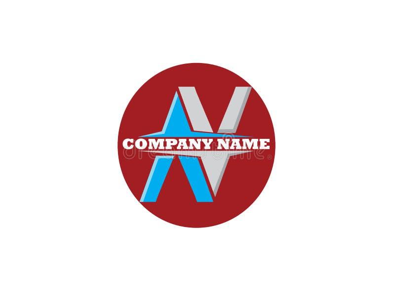 Alphabet de lettre de N dans l'illustration de conception de logo de forme ronde sur le backgroung blanc illustration libre de droits
