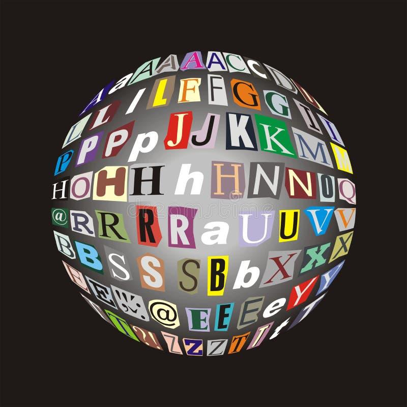 Alphabet de lettres apposé pour noircir la bille illustration libre de droits