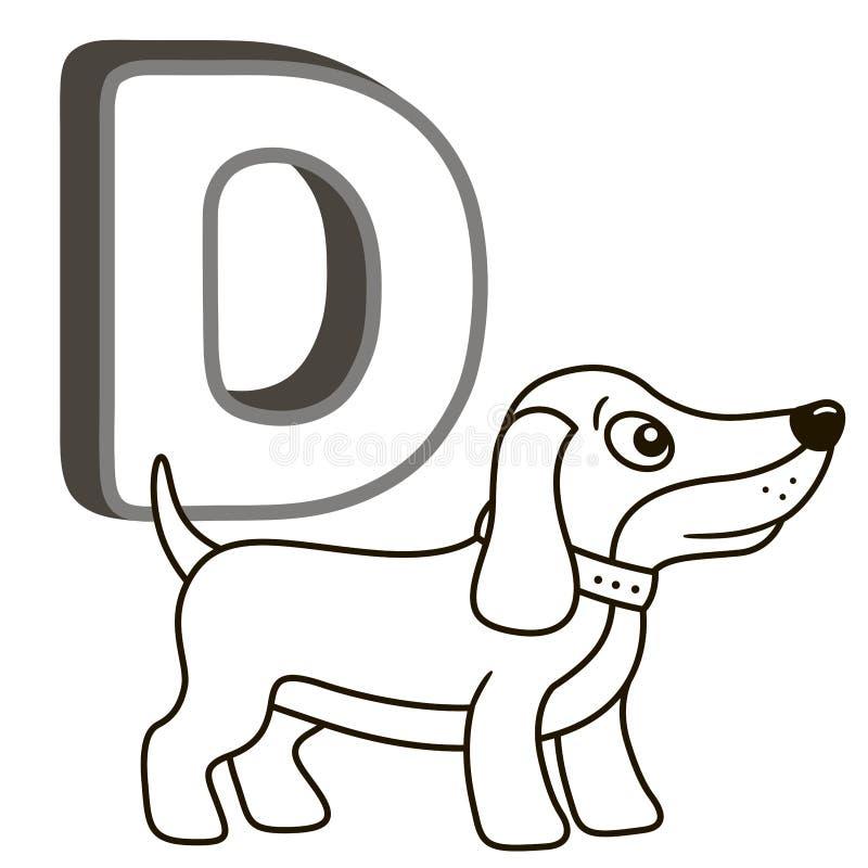 Alphabet de livre de coloriage de vecteur avec les majuscules des animaux et des choses anglais et mignons de bande dessinée Page illustration stock