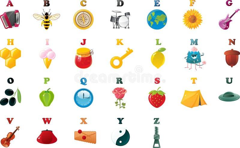 Alphabet de livre d'ABC avec des illustrations illustration libre de droits