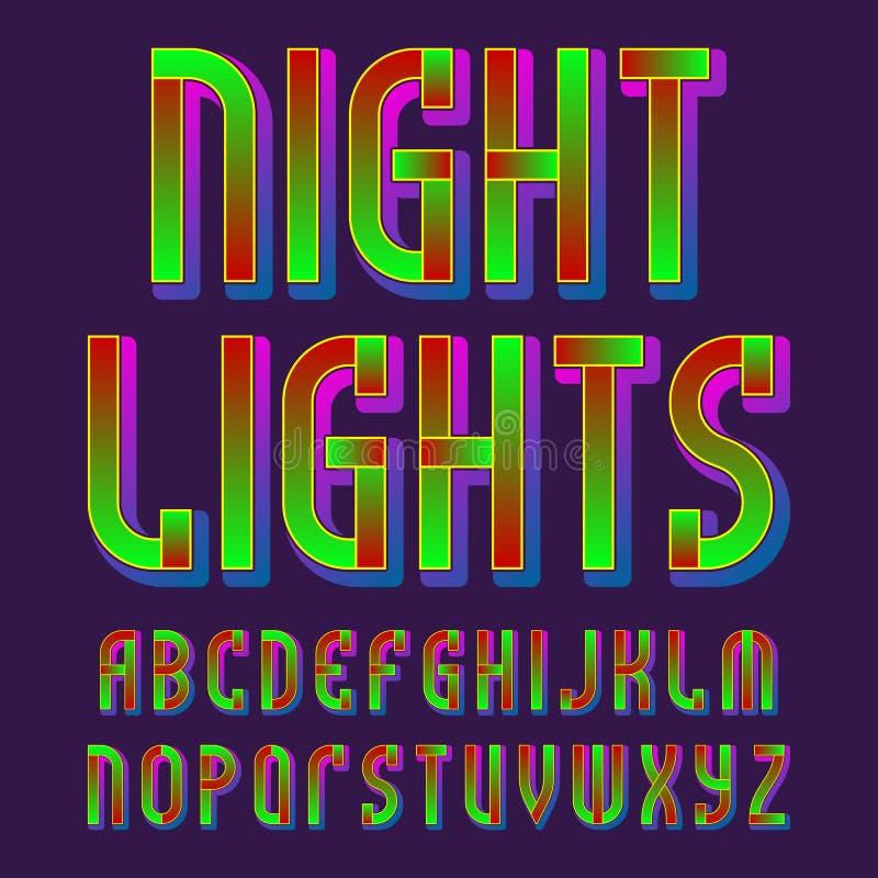 Alphabet de lumières de nuit Police vibrante rougeoyante Alphabet anglais d'isolement illustration de vecteur