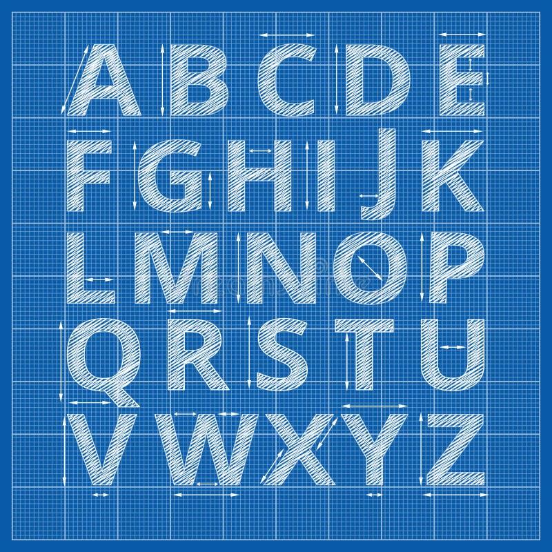 Alphabet de modèle Lettres de projet de vecteur illustration stock