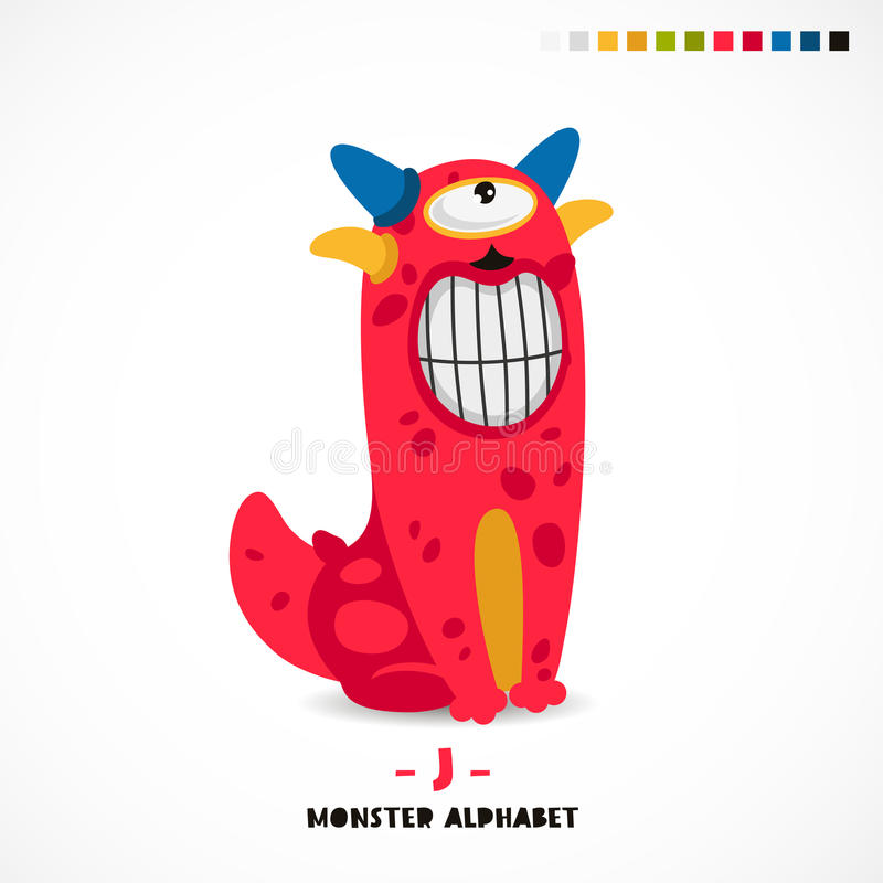 Alphabet de monstre Lettre J illustration stock