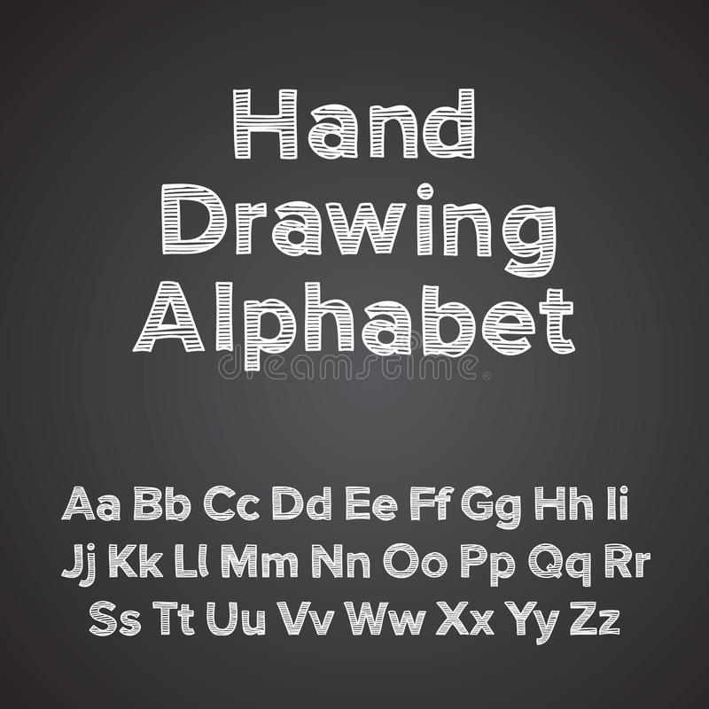 Alphabet de retrait de main avec l'effet de craie illustration stock
