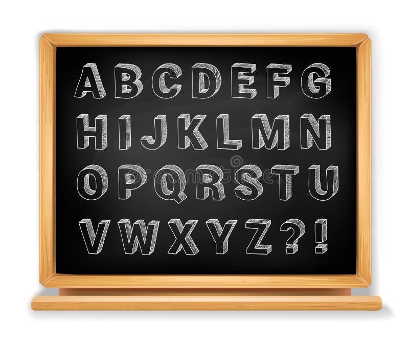 Alphabet de tableau réglé sur le tableau noir en bois illustration libre de droits