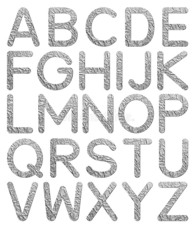 Alphabet de texture de papier d'aluminium de police A à Z image libre de droits