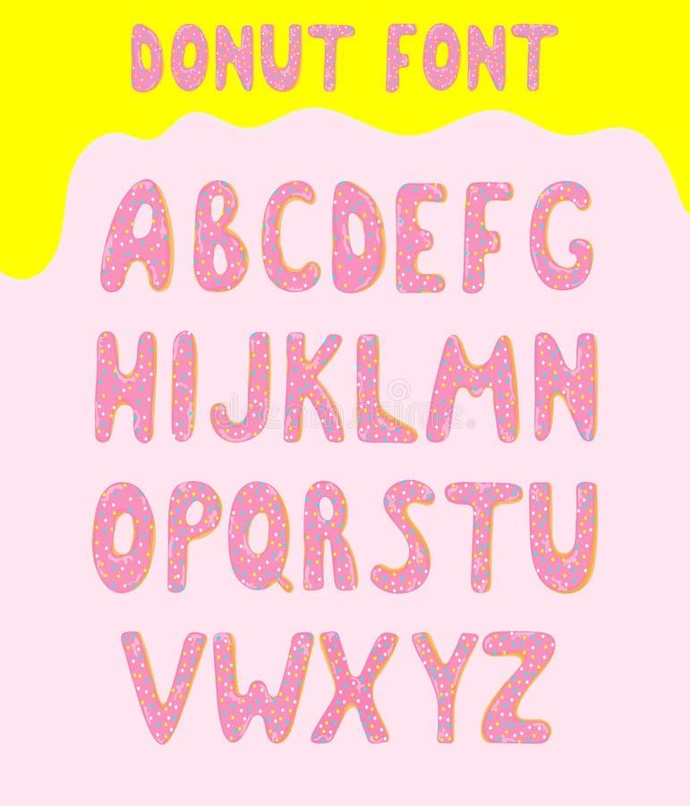 Alphabet de vecteur de beignet couvert de glaçage doux Police alphabétique de beignets d'enfants à la mode ABC avec rose et vitré illustration de vecteur
