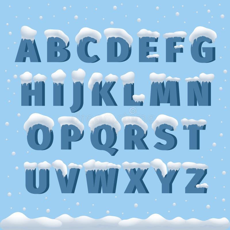 Alphabet de vecteur d'hiver avec la neige illustration de vecteur