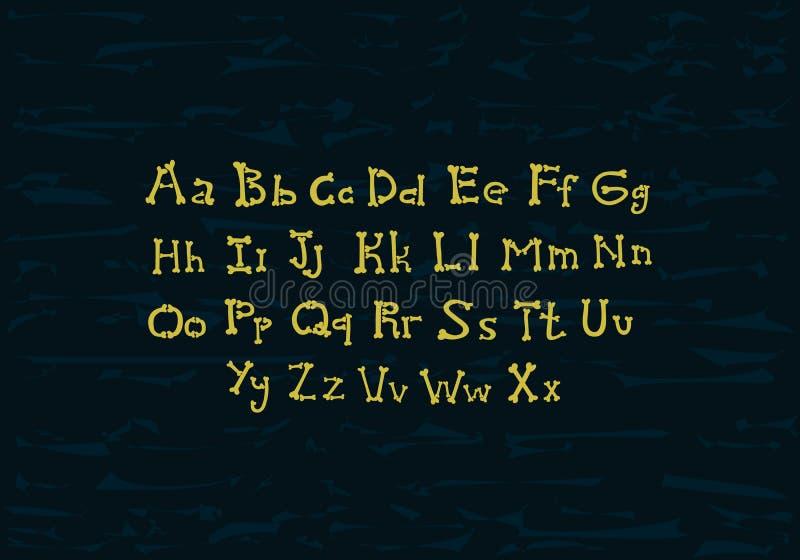 Alphabet de vecteur d'os sur le fond grunge illustration de vecteur