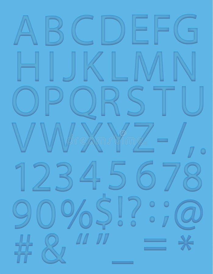 Alphabet de vecteur dans la couleur bleue images stock