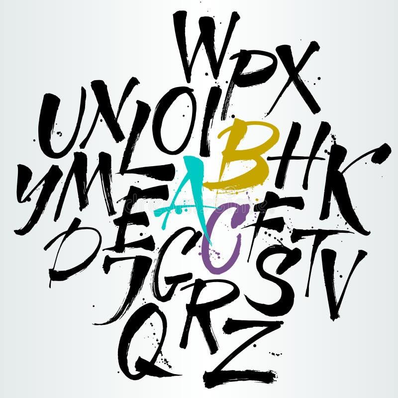 Alphabet de vecteur Lettres tirées par la main illustration de vecteur