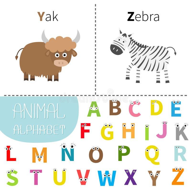 Alphabet de zoo de zèbre de yaks de la lettre Y Z ABC anglais avec des lettres d'animaux avec le visage, yeux Cartes d'éducation  illustration stock